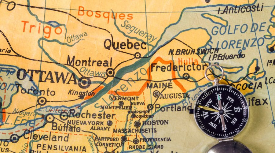 Map of Southeast Canada written with misspellings. It comes from a Spanish school. Published 1969.